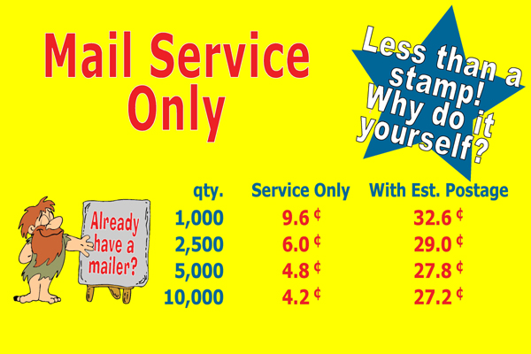 Bulking mail service prices price includes pre sorting your computer list addressing packaging in mail trays and delivery to our post office estimated standard postage is included solutioingenieria Choice Image